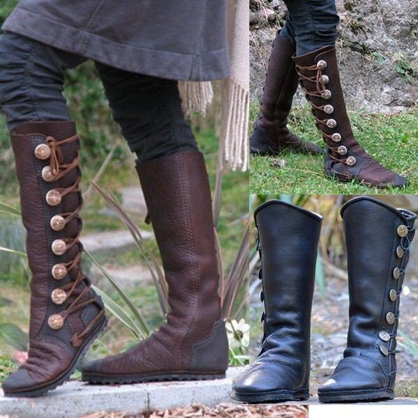 Low Heels Metal Button Trim Crisscrossed Knee-High Booties