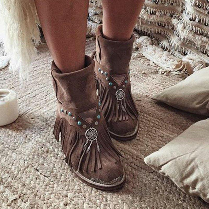 Faux Leather Rivet Tassel Chunky Heel Boots