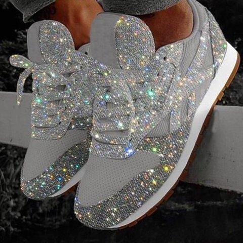 Shiny Rhinestone Platforms Sport Lace-Up Sneakers