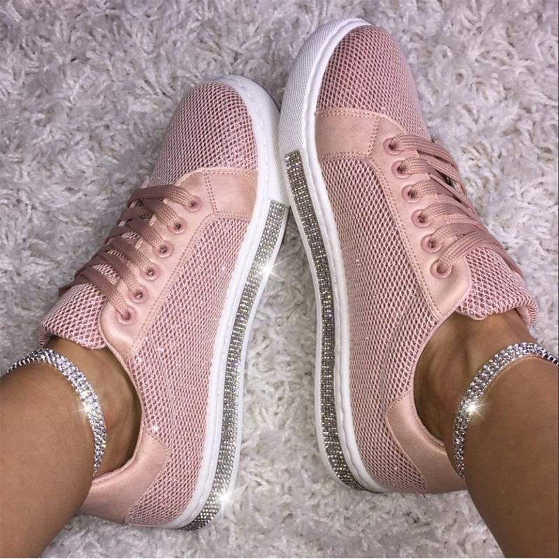 Rhinestone Solid Lace-Up Flate Sneakers