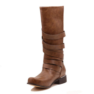Brown Buckles Chunky Heel Mid-Calf Solid Boots