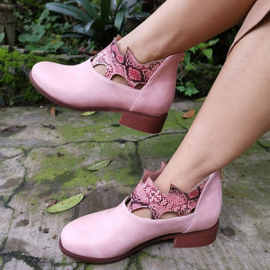 Hollow Sneak Print Round Toe Ankle Boots