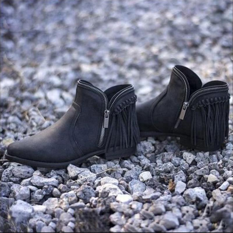Pu Zipper Fringed Low Heel Ankle Booties