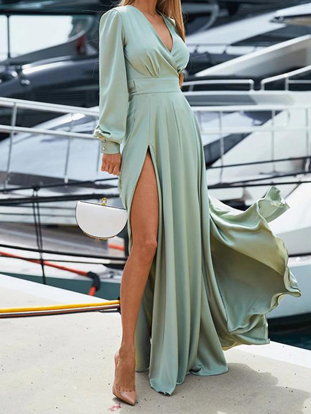 Solid Bohemia V Neck Paneled Self-tied Slit Swing Maxi Dress