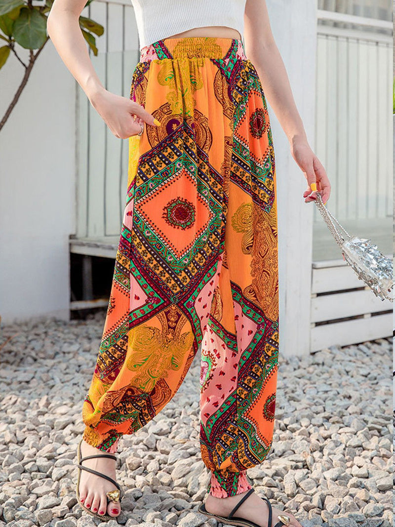 High Waisted Bohemian Yellow Print Wide Chino Pants