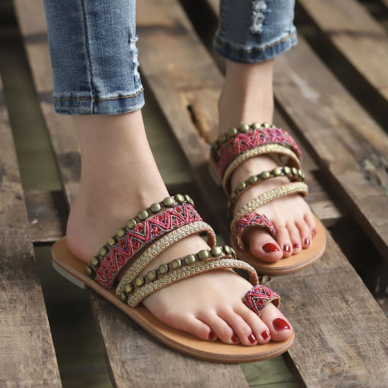 Flok Style Beading Weaving Women Sandals