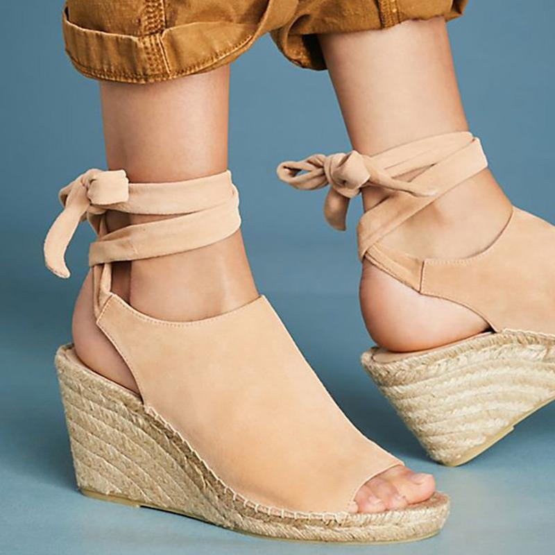 Women Flocking Wedge Sandals Vie Tie Up Shoes