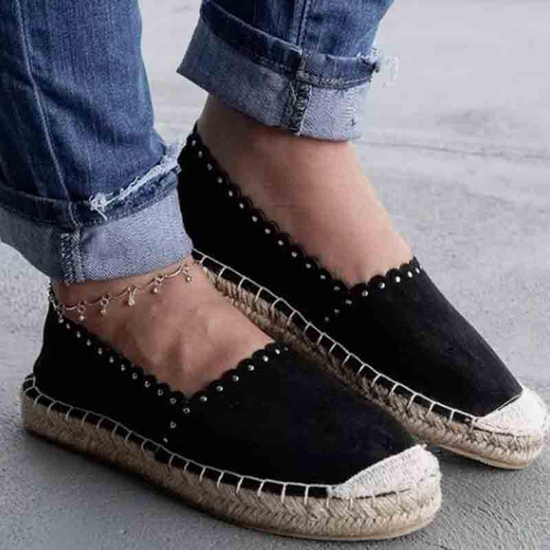 Straw-weaving  Canvas Upper Rivet Women Espadrilles