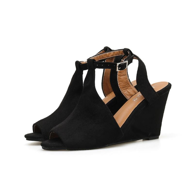 Solid Black Flocking Ankle Buckle Fashion Wedges Sandals