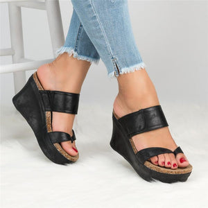 Women Summer Shoes Large Size Slip On Thong Wedge Sandals