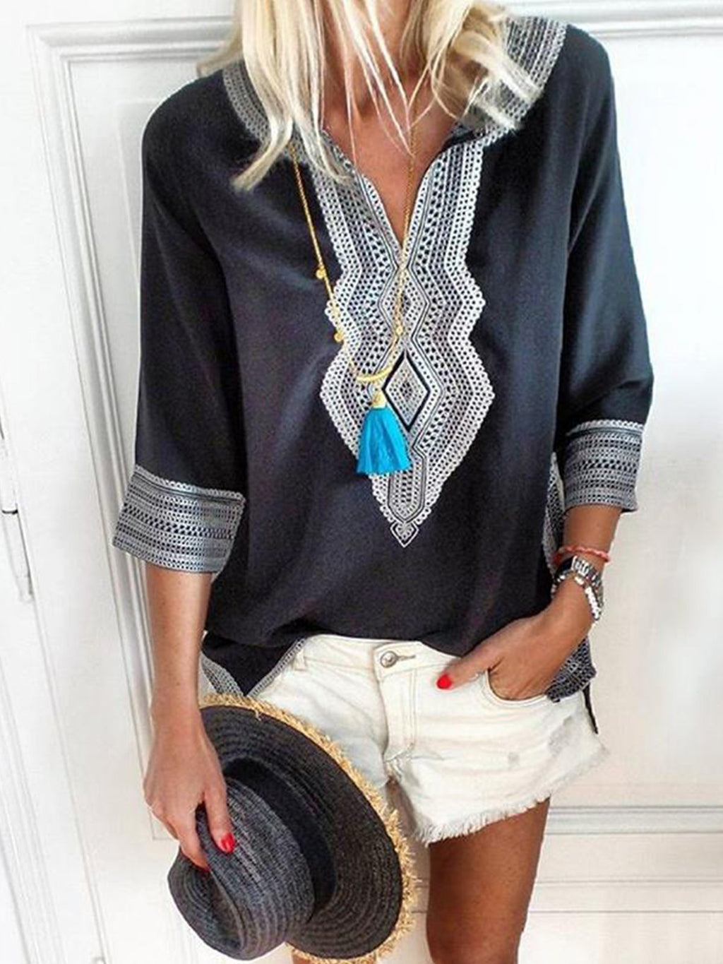 Women V Neck Casual Geometric Print Plus Size Top