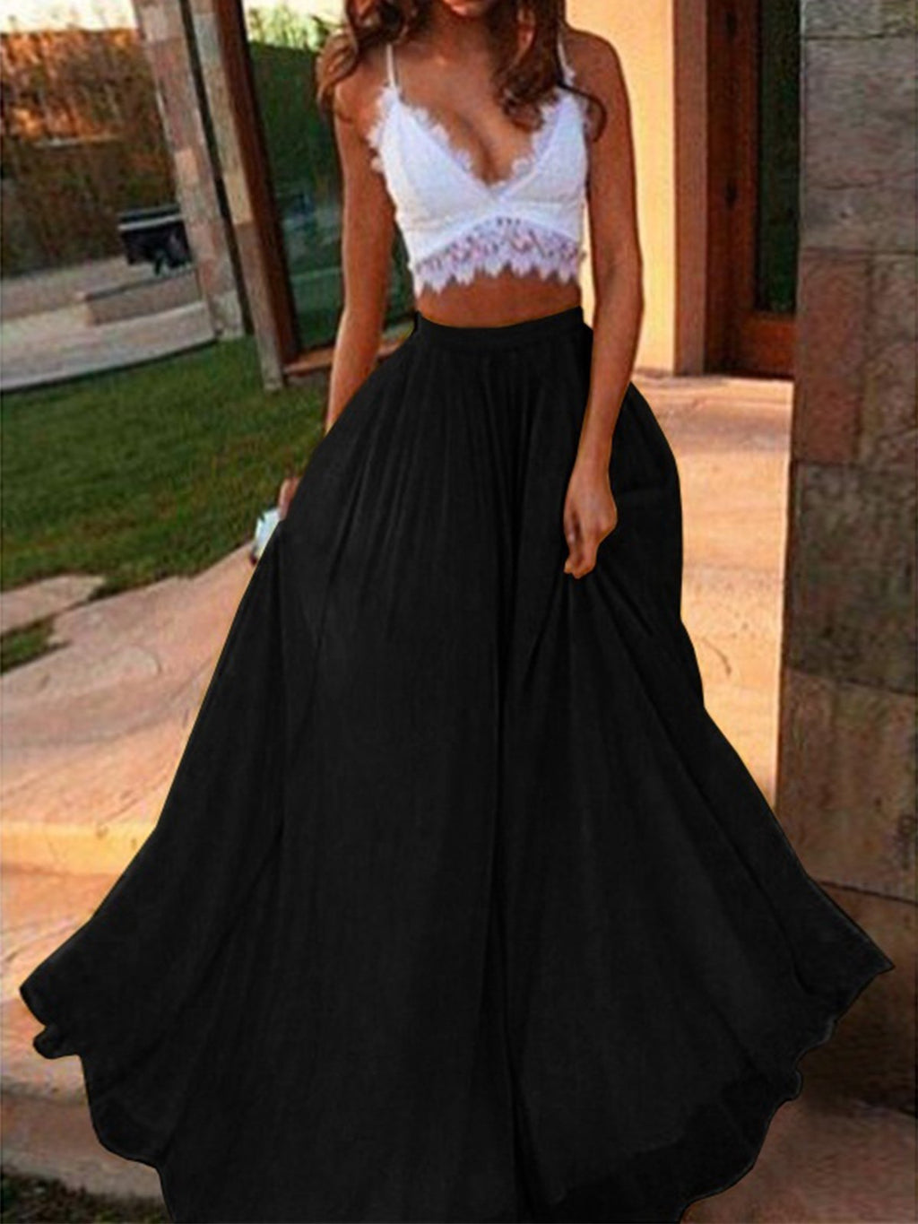 Women Summer Chiffon Sweeping Hem Solid Maxi Skirt