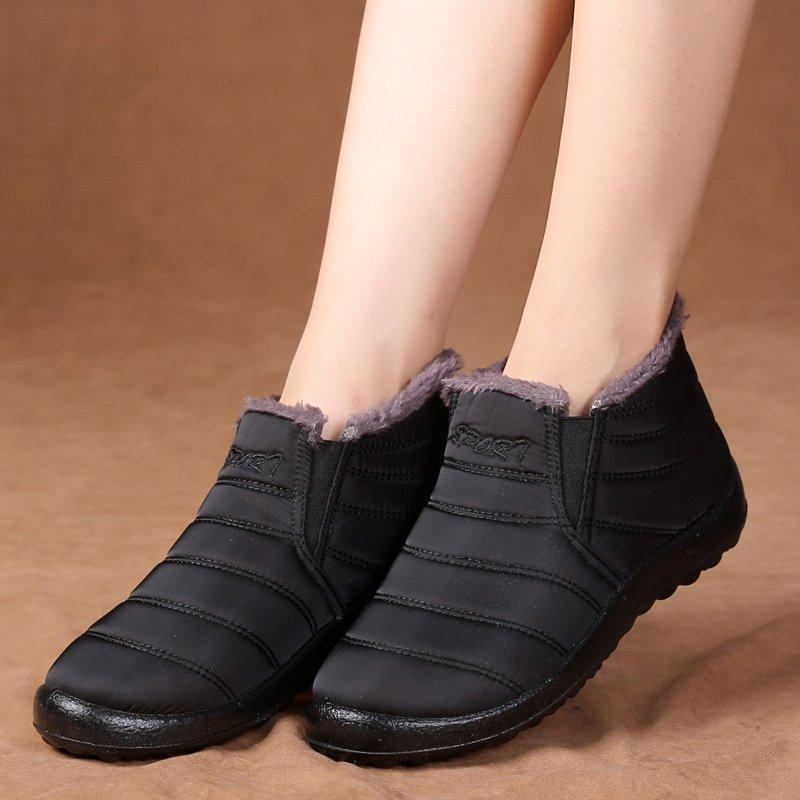 Purple Women Snow Ankle Waterproof Booties Casual Shoes