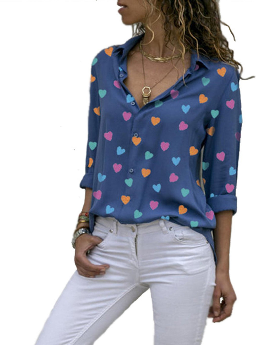 Long Sleeve Fitting Women Tiny Heart Print Shirt