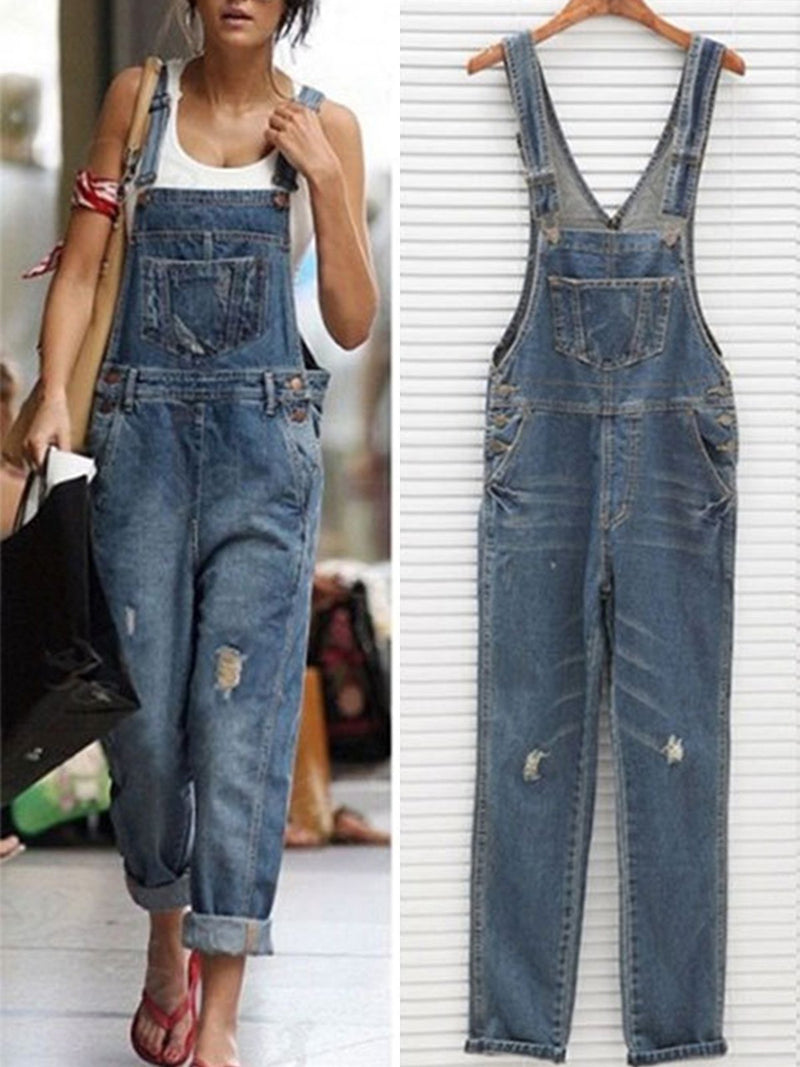 Fashion Spaghetti Strap Blue Denim Jumpsuits