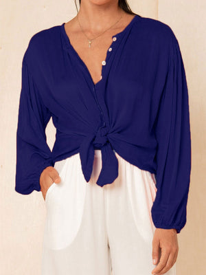 Solid Color Button-Down Puff Sleeve Crop-Sleeved Shirt