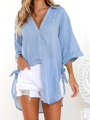 Autumn 3/4 Sleeve Button V Neck Lightblue Shirt
