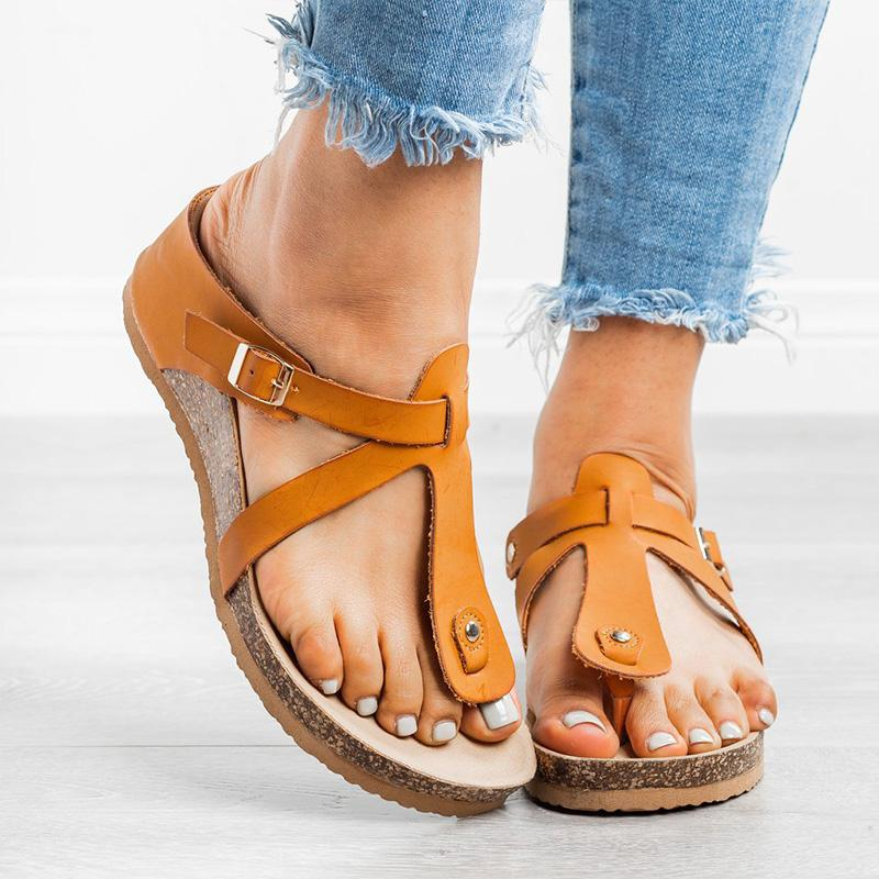 Women PU Buckle Casual Flip-flop Sandals