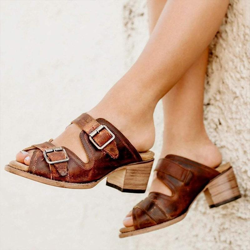 Metal Buckle Summer Chunky Heels Vintage Sandals