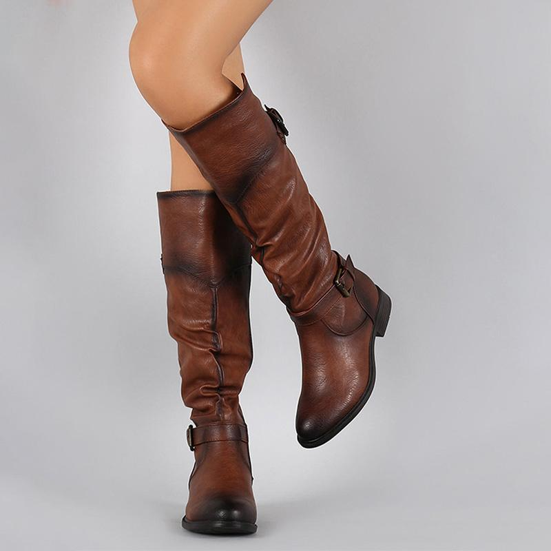 Women's Vintage Buckle Knee-high Boots