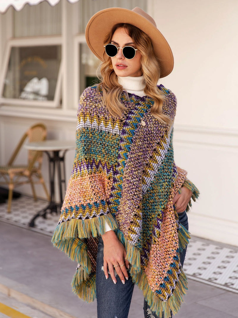 Women V Neck Asymmetric Holiday Swing Ponchos
