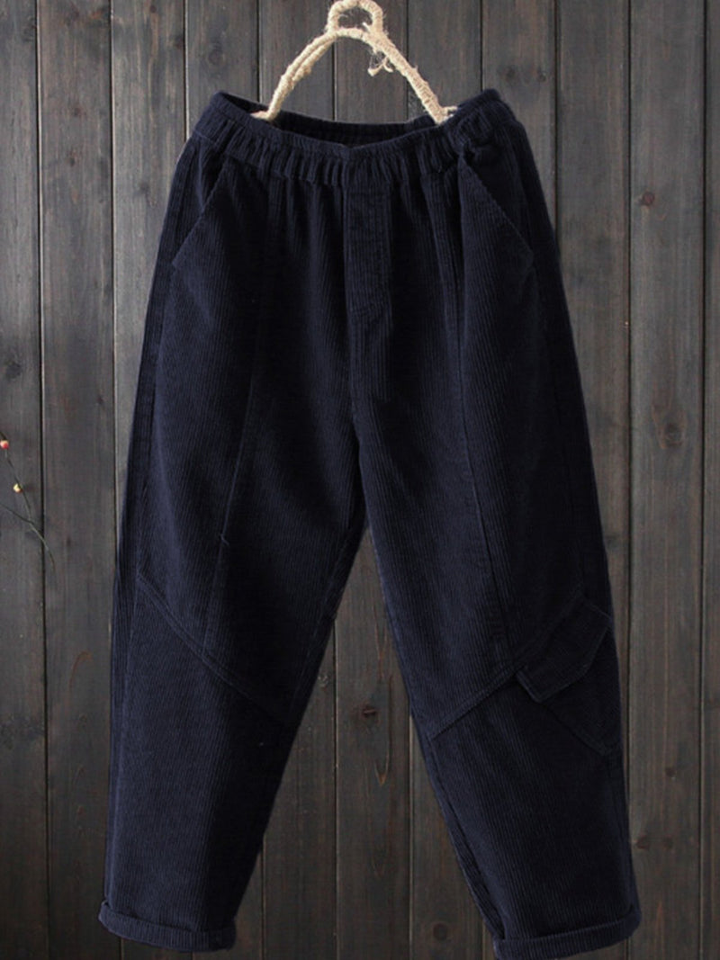 Casual Corduroy Plain Pants
