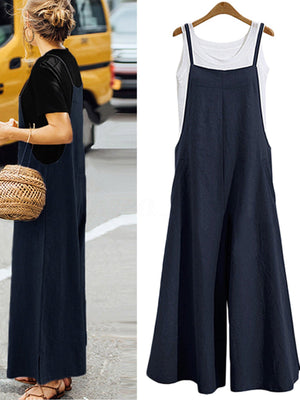 Spaghetti Strap Wide-leg Casual Women Loose Jumpsuits