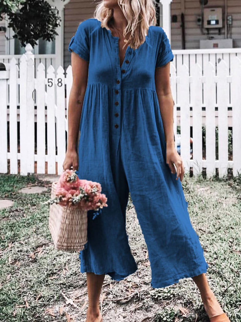 Solid Short Sleeve Casual Jumpsuits