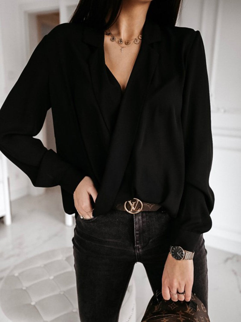 Plain Long Sleeve V-neck Women's Shirt