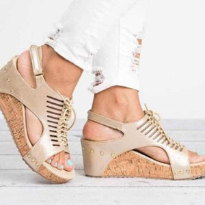 Wedge Heels Summer/Spring Hollow-cut Lace-up Women Sandals