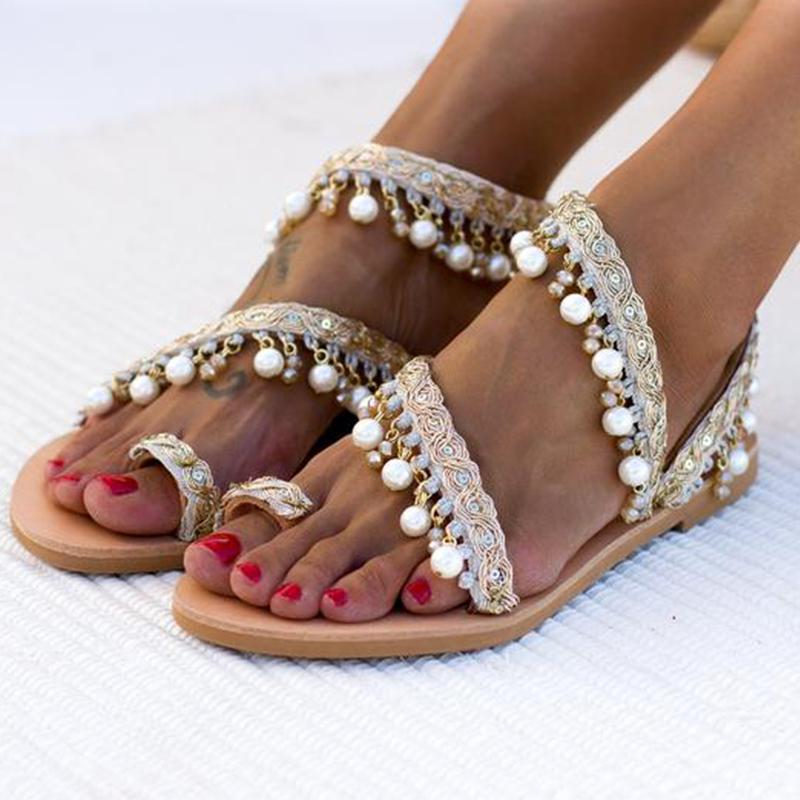 Golden Beading Fringe Plus Size Women Sandals