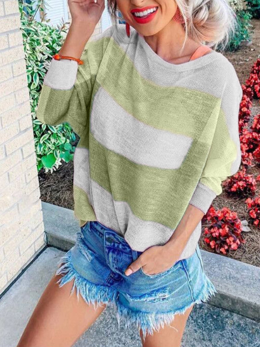 Color Block Stripe Print Round Neck Loose T-Shirt