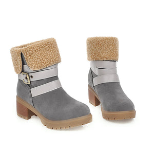 Flocking Buckle Strap Plus Plush Velour Lining High Chunky Ankle Boots