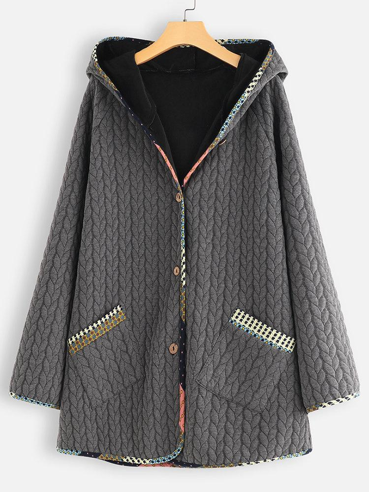 Plus Size Hooded Cotton Quilted Buttoned Long Coat