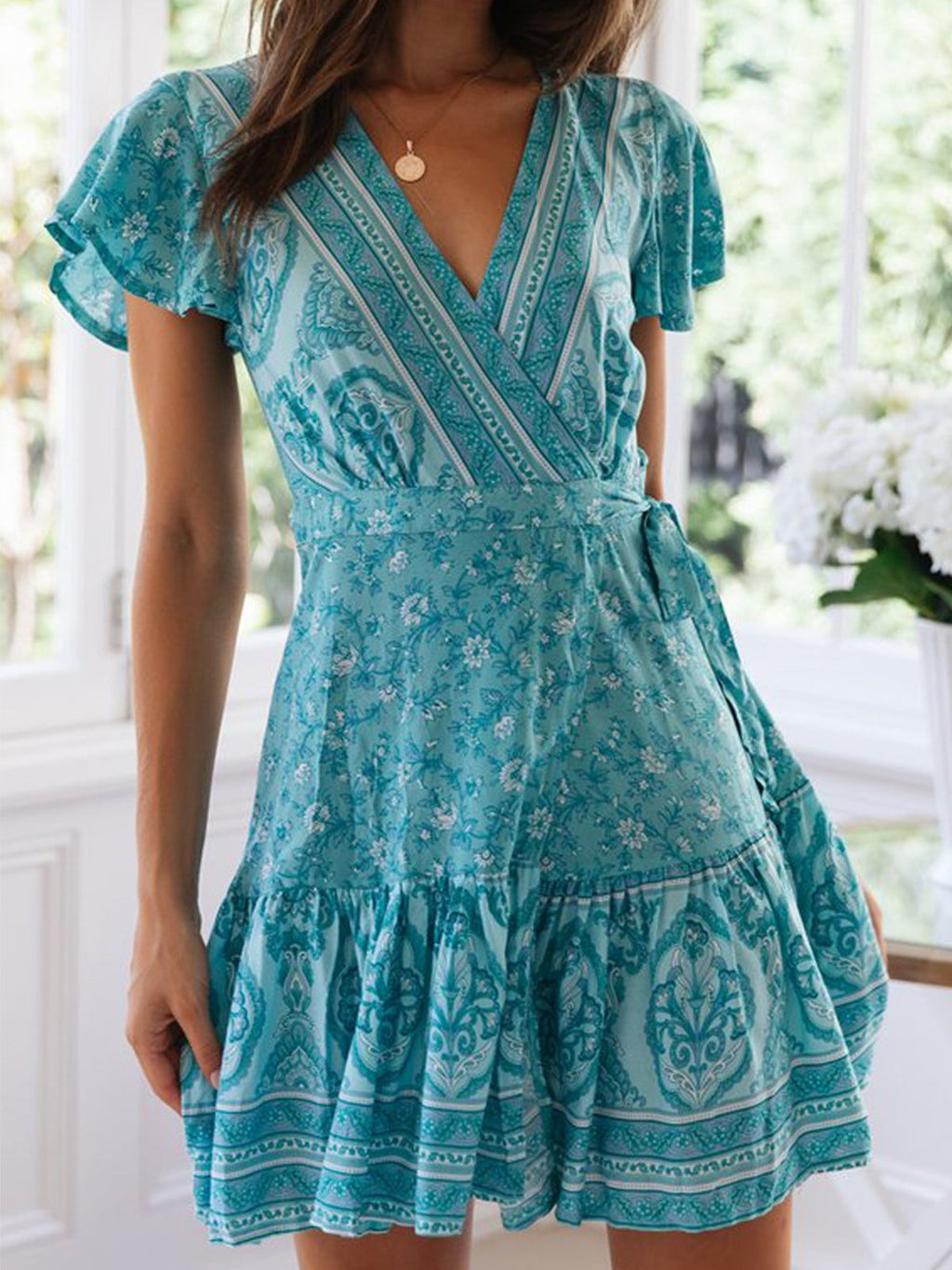 Short Sleeve Bohemia Print Wrap V Neck Dress
