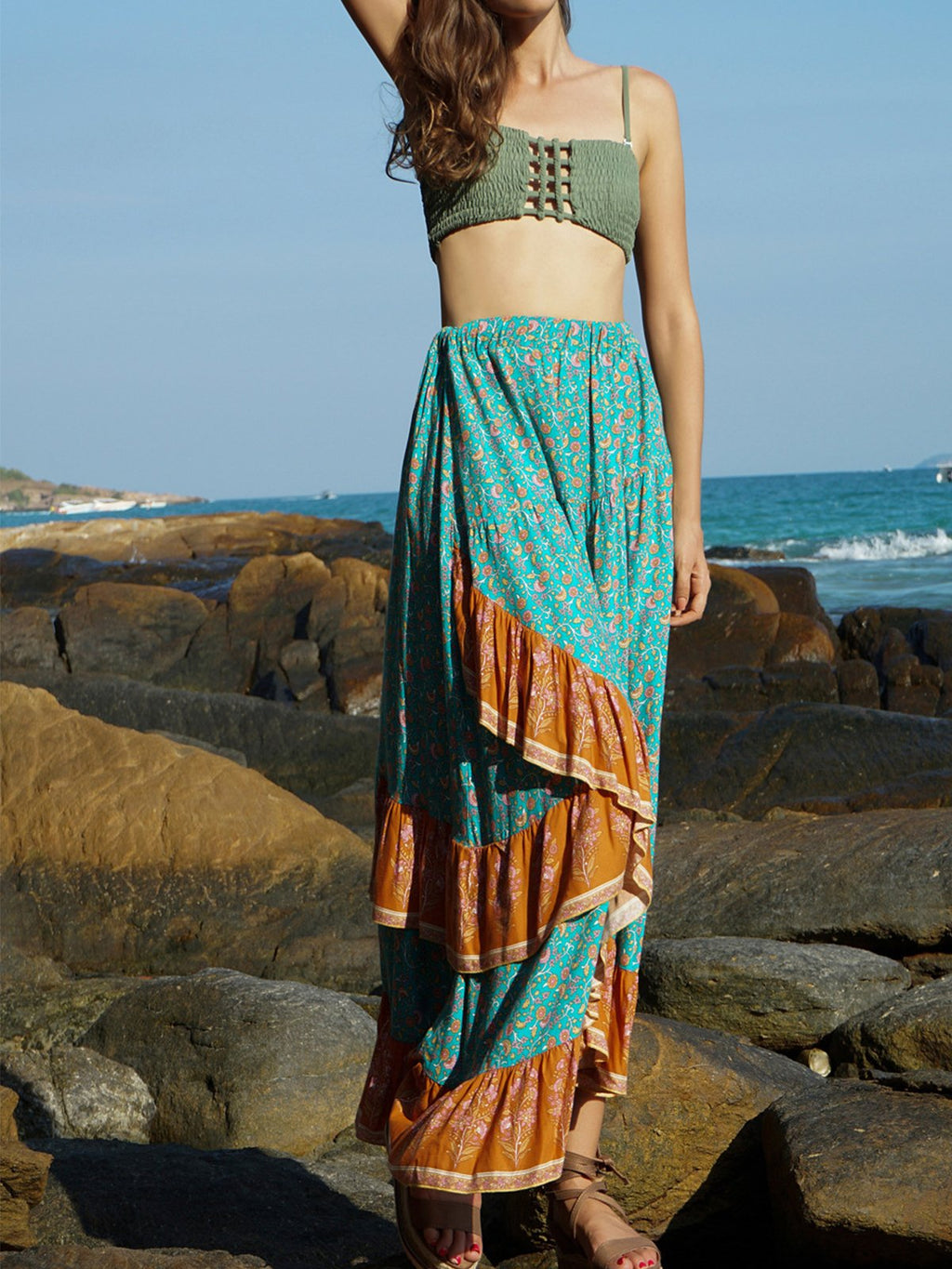 Green Bohemia Print Medium Waist Beach Flounce Hem Holiday Skirt