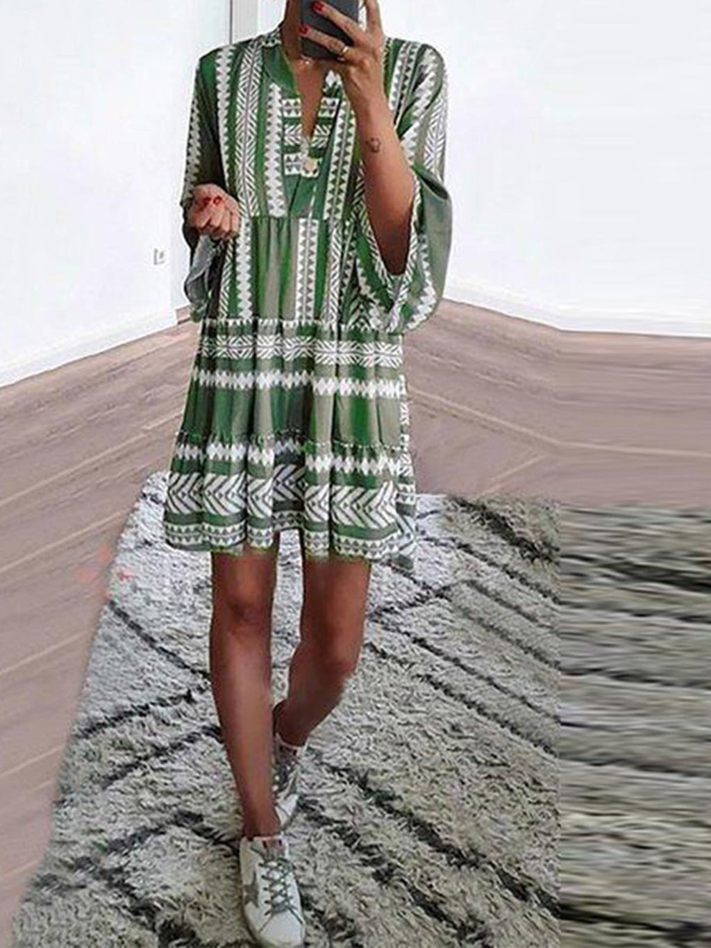 Green/White Print Shirt V Neck Shirtdress