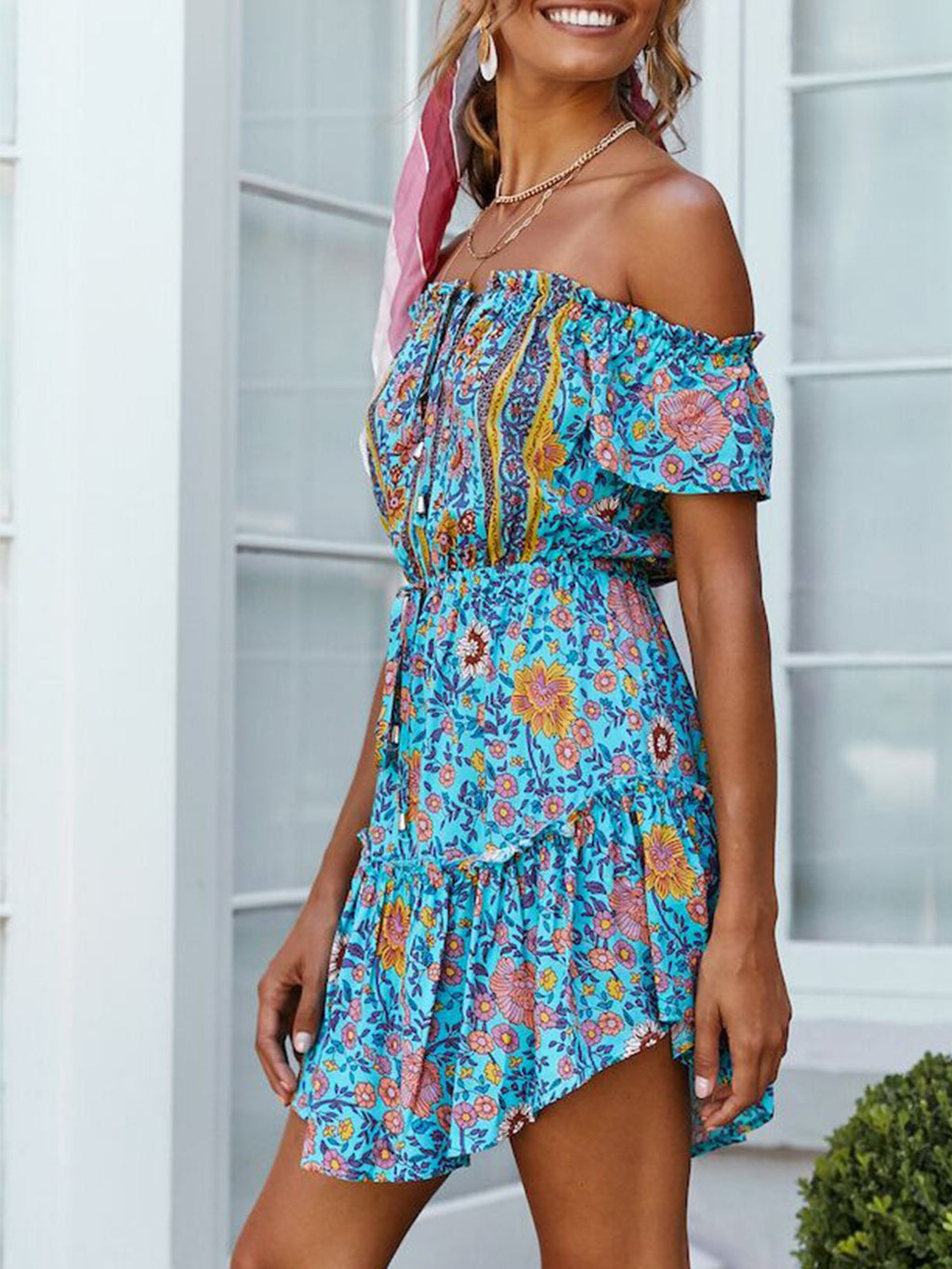 Boho Floral Print Off-shoulder Flare Swing Dress