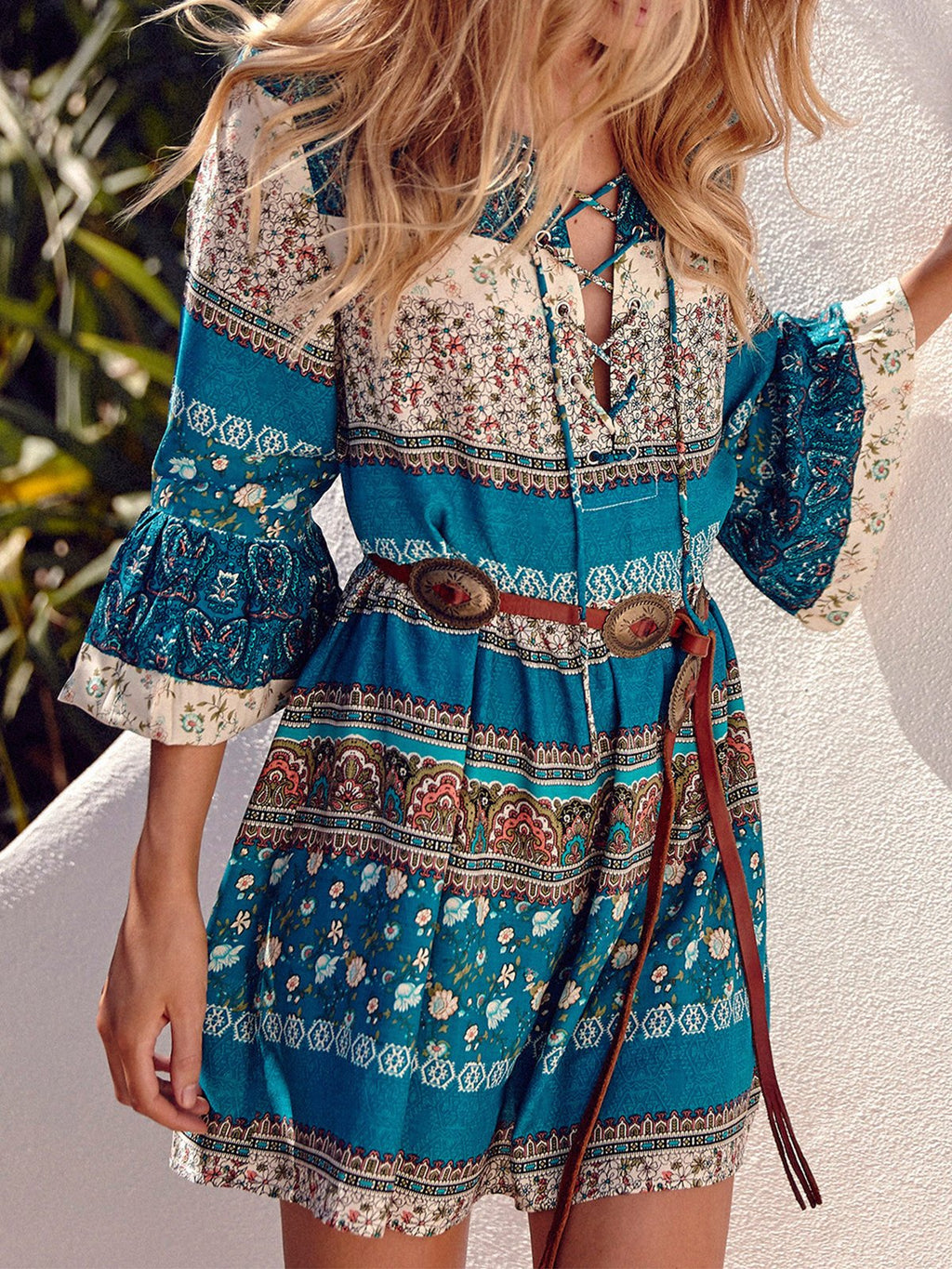 Peacock Blue Bohemia Printing Crisscross V Neck Beach Holiday Midi Dress