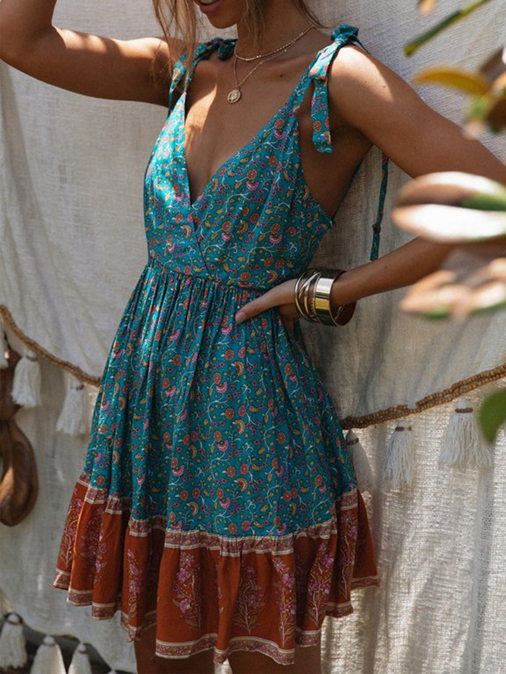 Summer Color Block Floral Print Lace-up Strap Backless V Neck Dress