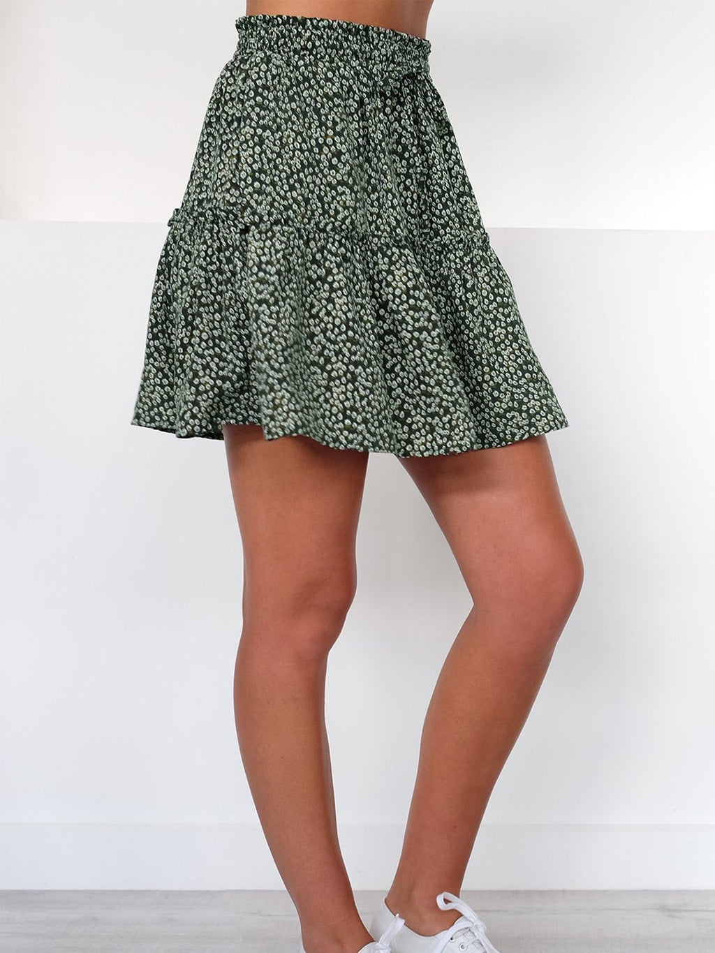 Dense Flower Print Layeren Mini Skirt