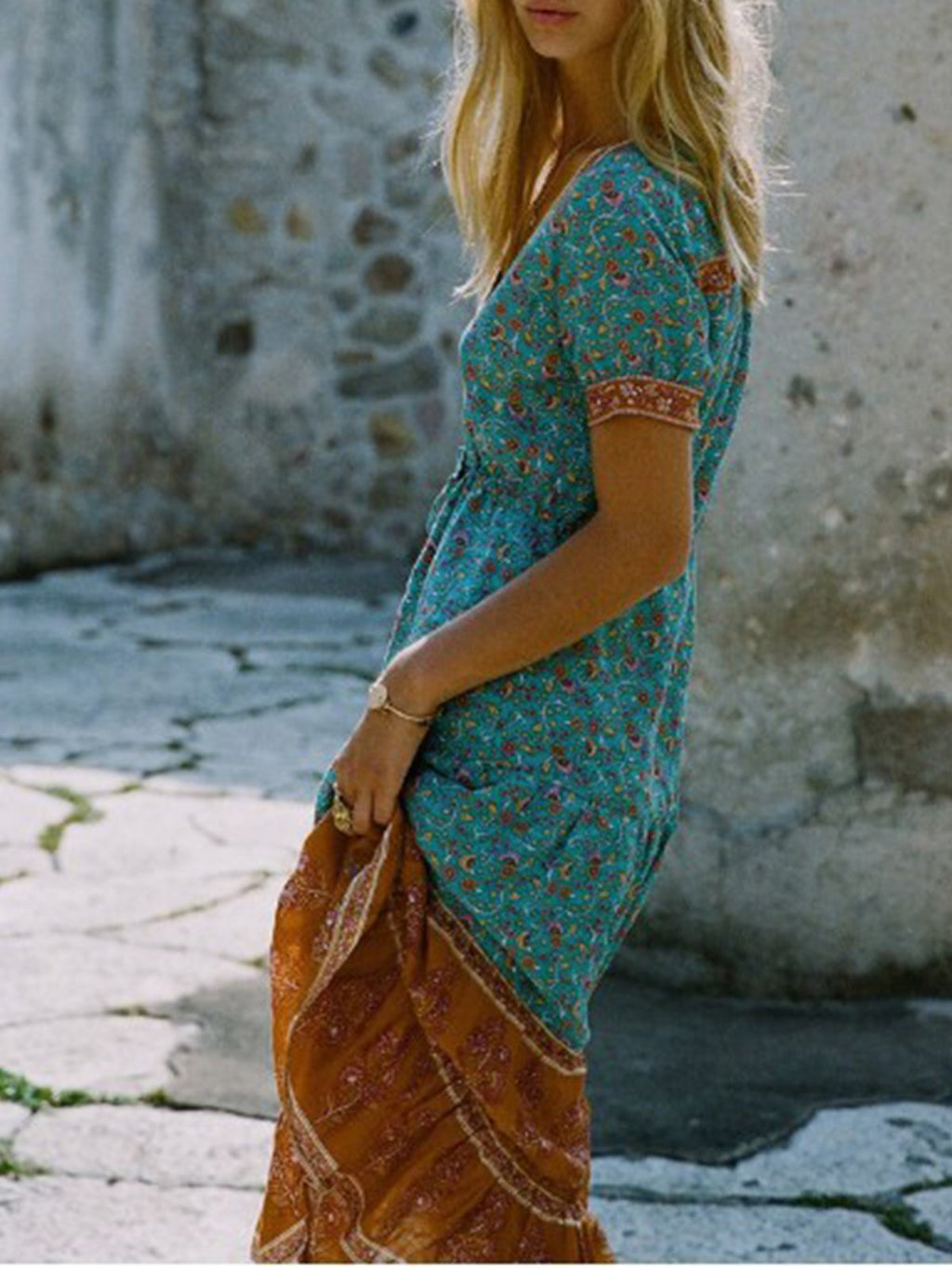 Boho Print Short Sleeve Button-down-placket Holiday Dress