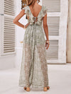 Chiffon Deep V Neck Backless Wide-leg Floral Print Jumpsuits