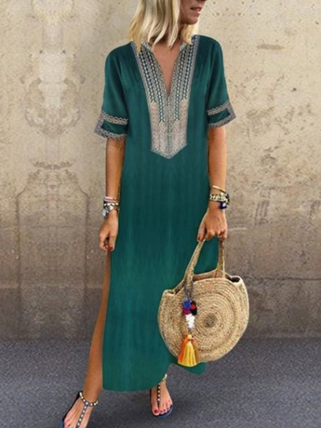 V Neck Bohemian Short Sleeve Maxi Dress