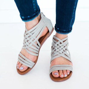 Women Leather Sandals Casual Weaved Zipper Shoes