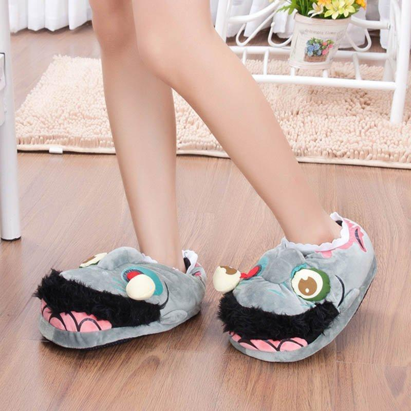 Grey Slippers Adult Cotton Home Slippers Winter Warm Shoes Indoor Christmas Halloween Indoor Slippers