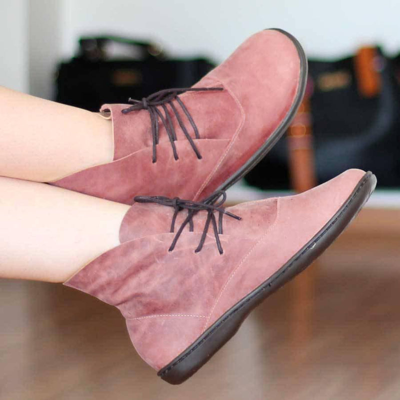 Suede Flat Heel Daily Lace-Up Boots