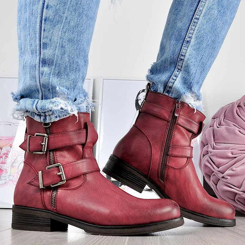 Vintage Women's Boots Chunky Heel Ankle Boots With Double Buckles