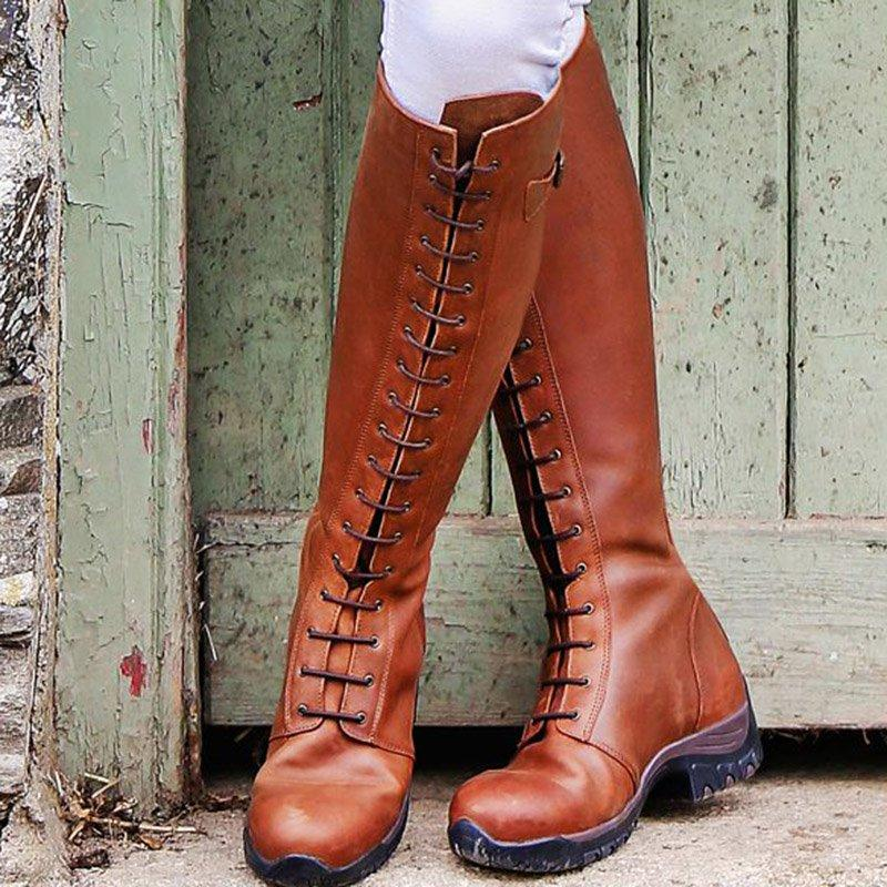 Women Lace-Up Winter Low Heel Boots