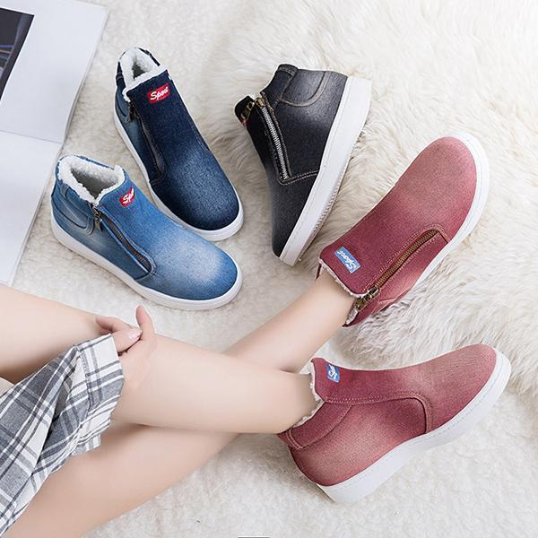 Womens Casual Zip Flat Heel Winter Snow Boots